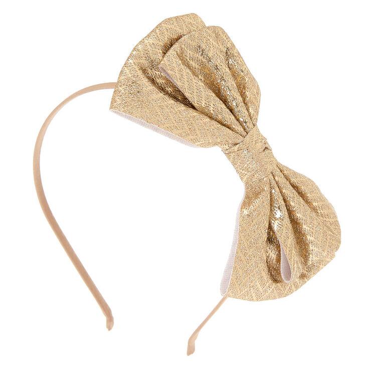 Chevron Glitter Bow Headband - Gold,