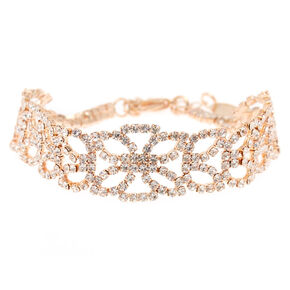 Rose Gold Glass Rhinestone Statement Bracelet,