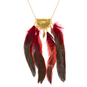 Gold Polka Dot Feather Long Pendant Necklace - Red,