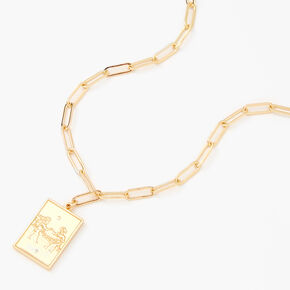 Gold Rectangle Zodiac Symbol Pendant Necklace - Gemini,