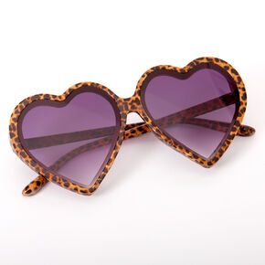 Oversized Leopard Heart Sunglasses - Brown,