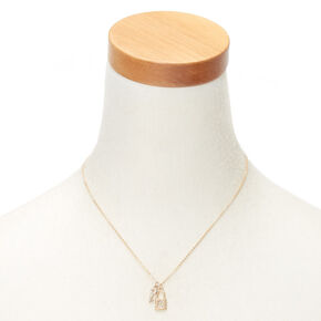 Gold Lock & Key Initial Pendant Necklace - G,