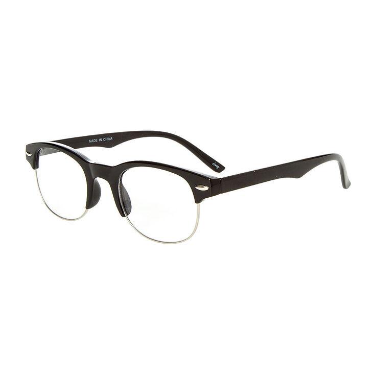 Silver Browline Clear Lens Frames - Black,