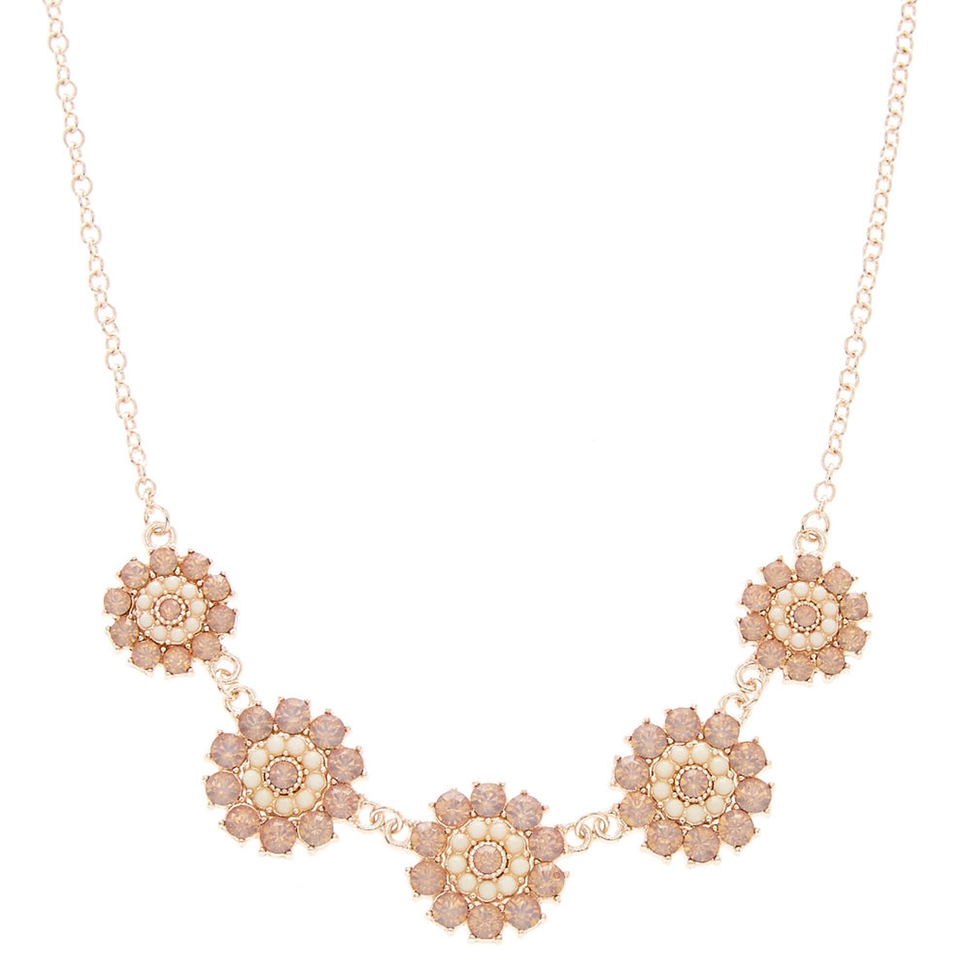 Rose Gold Pink Faux Crystal Flower Necklace Icing Us