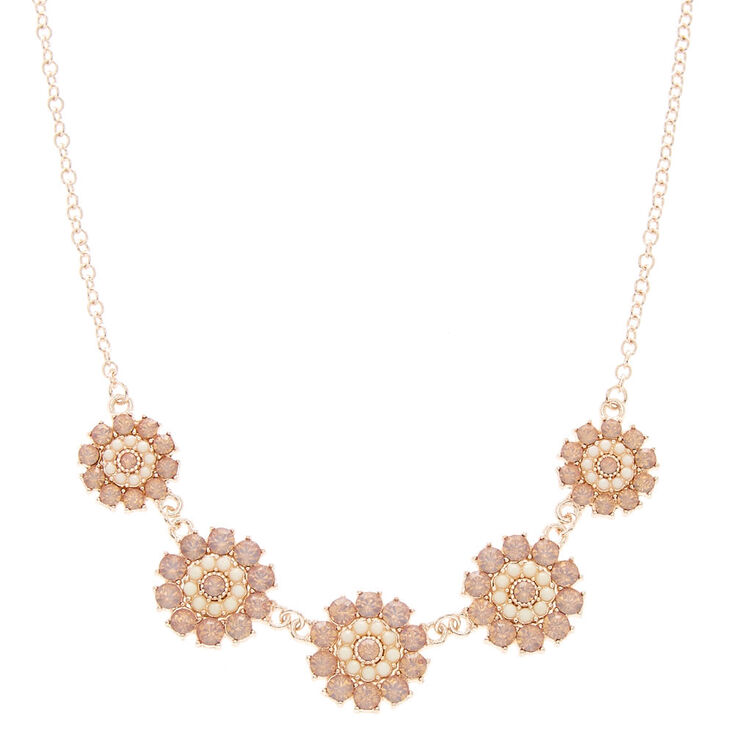Rose Gold Pink Faux Crystal Flower Necklace,