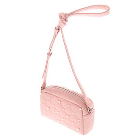 Faux Leather Quilted Pearl Crossbody Bag - Blush,