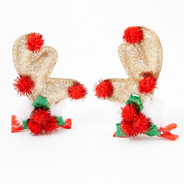 Glitter Reindeer Antler Holly Hair Clips - Gold, 2 Pack,