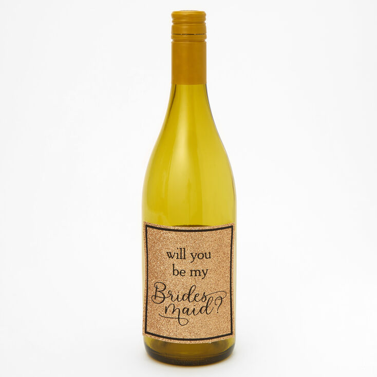 Bridesmaid Wine Bottle Stickers - Gold, 4 Pack,