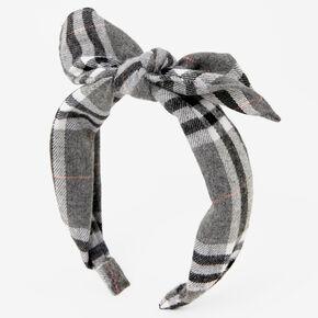 Plaid Gray Bow Headband,