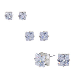 Silver Cubic Zirconia Square Stud Earrings - 5MM, 6MM, 7MM,