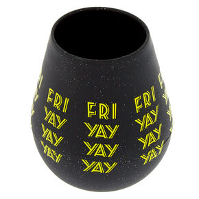 Silicone Fri Yay Wine Glass - Black,