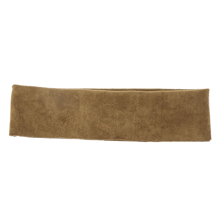 Wide Suede Olive Headwrap,