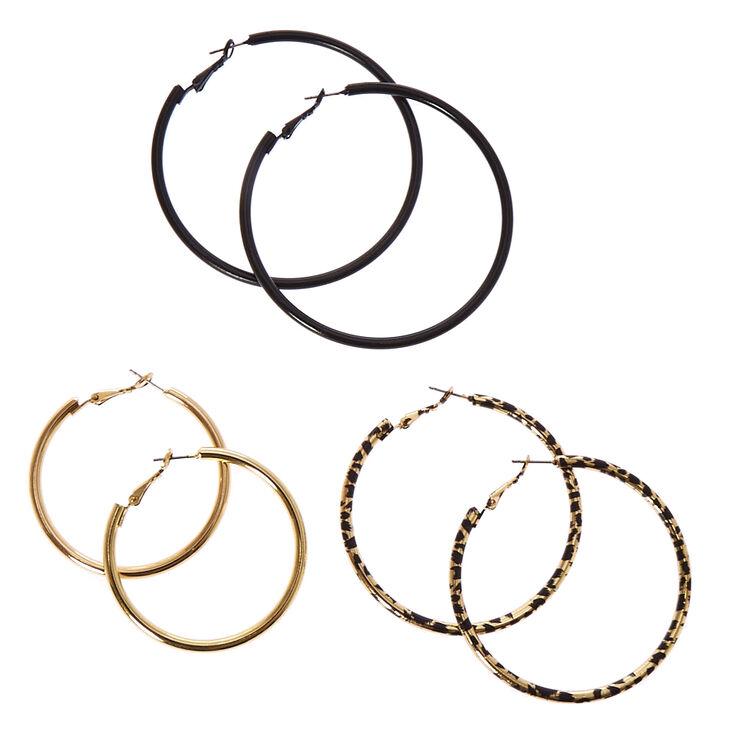 Black & Gold Leopard Print Hoop Earrings,