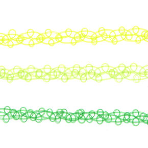 3 Pack Green Tattoo Chokers,