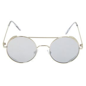 Round Metal Frame Sunglasses - Silver,
