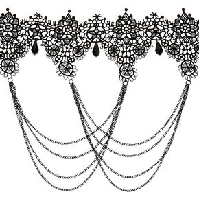 Lace Swag Choker Necklace - Black,