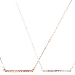 Mixed Metal Pendant Necklaces - 2 Pack,