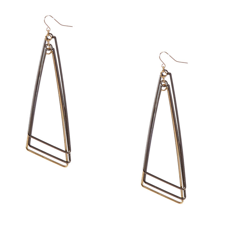Mixed Metal Triple Triangle Drop Earrings,