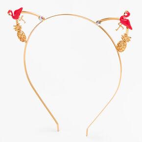 Gold Flamingo Pineapple Cat Ears Headband - Pink,