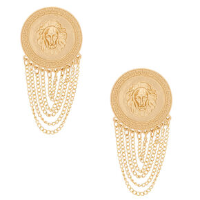 "Gold 2"" Lion Chain Drop Earrings,"
