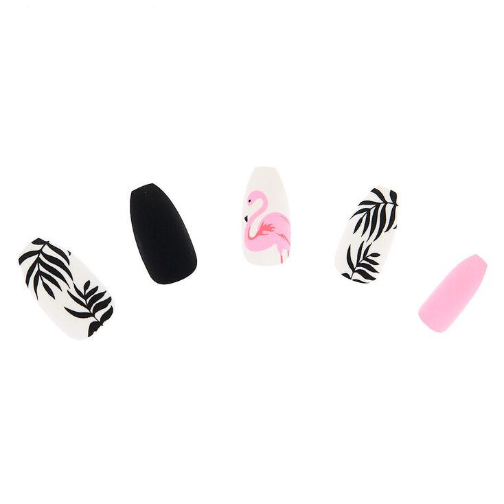Matte Flamingo Faux Nail Set - 24 Pack,