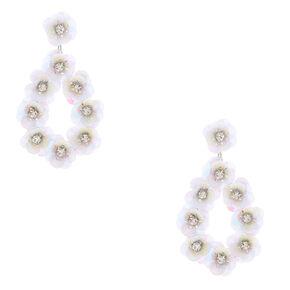 """3"""" Holographic Flower Petal Teardrop Drop Earrings - White,"""