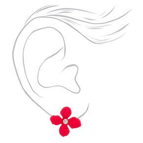 Silver Flower Stud Earrings - Pink,