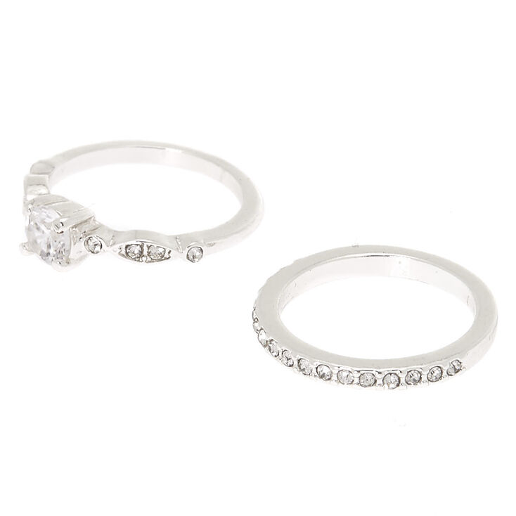 Silver Cubic Zirconia Rings - 2 Pack,