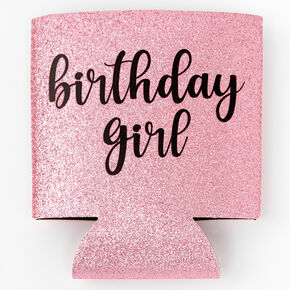 Birthday Girl Glitter Wine Bottle Koozie - Pink,