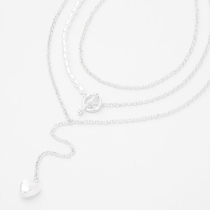 Silver Pearl Heart Chain Multi Strand Necklace,