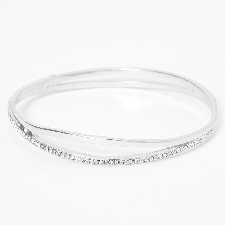 Silver Pave Rhinestone Double Bangle Bracelet,