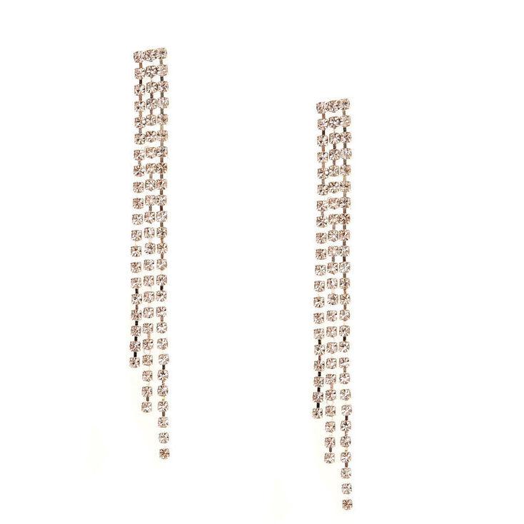 """Silver Rhinestone 3"""" Chain Drop Earrings,"""