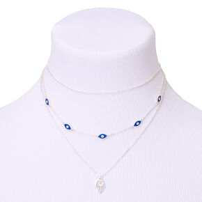 Silver Evil Eye Multi Strand Choker Necklace - Blue,
