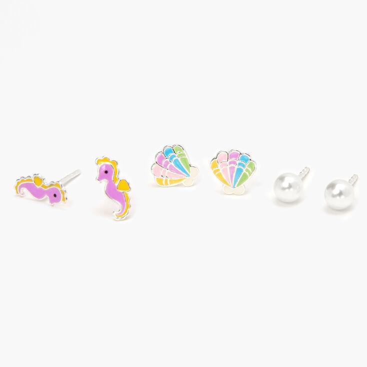 Sterling Silver Pastel Sea Critter Stud Earrings - 3 Pack,