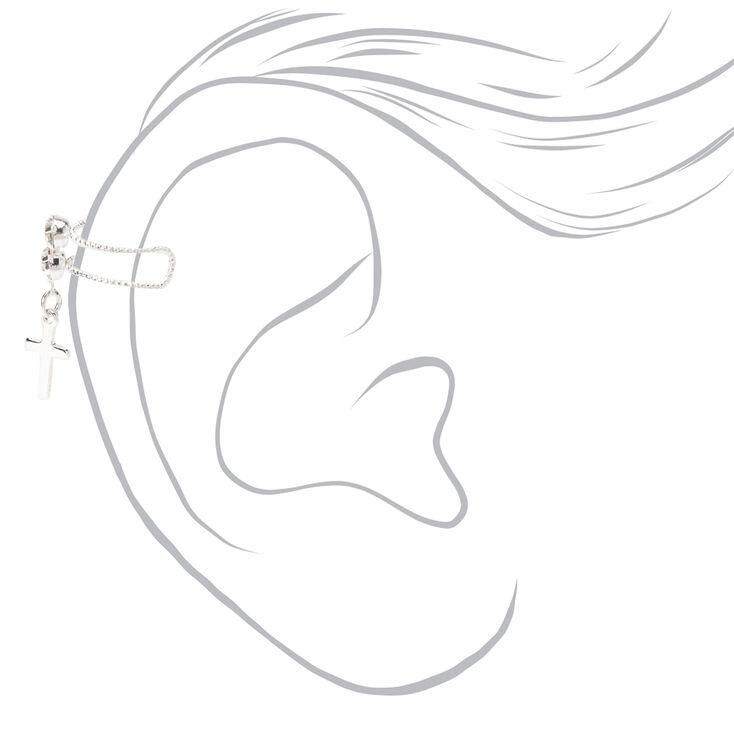 Silver Crystal Cross Ear Cuff,