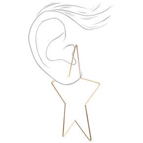 Gold Star Hoop Earrings,