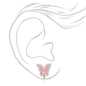 Silver Crystal Butterfly Clip On Stud Earrings - Pink,