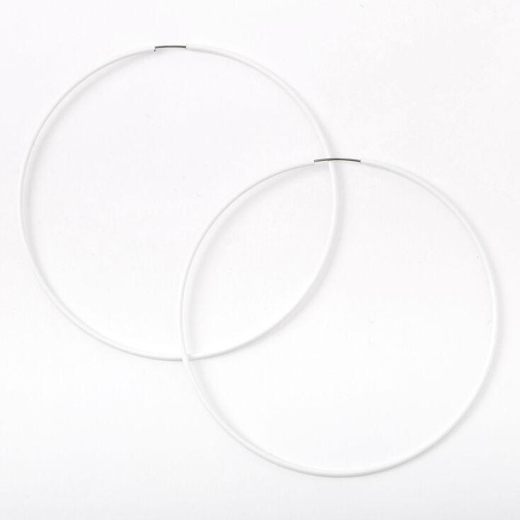 White 80MM Hoop Earrings,