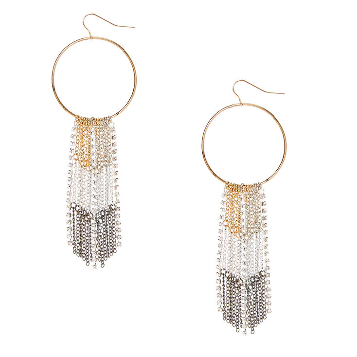 Gold Tone Hoops with Mixed Metal Chain Fringe Drop Earrings,