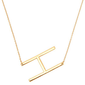 Oversized Initial Pendant Necklace - H,