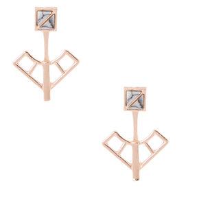 Rose Gold Marble Ear Jacket Earrings,
