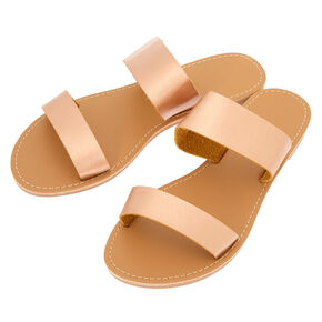 Double Strap Sandals - Rose Gold,