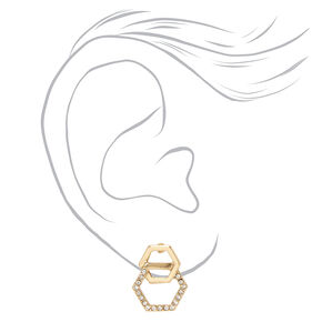 Gold Double Crystal Stud Earrings,