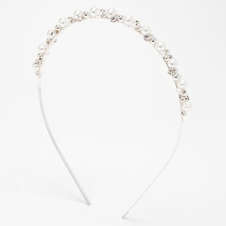 Silver Rhinestone Pearl Cluster Headband,