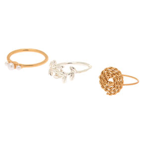 Mixed Metal Free Spirit Midi Rings - 3 Pack,