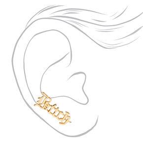 Gold Bitch Script Ear Crawler Stud Earrings,
