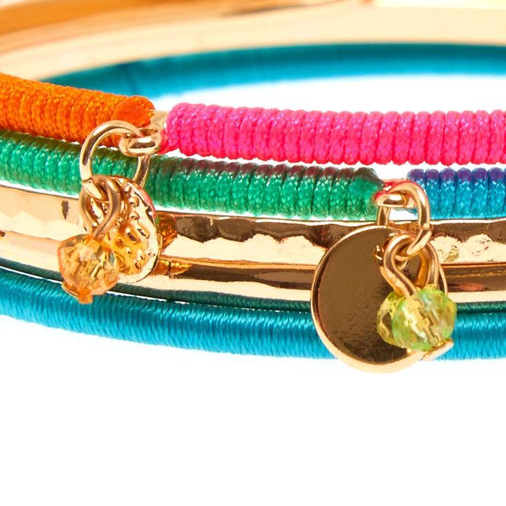 5 Pack Gold-Tone Neon Wrapped Bangle Bracelets,