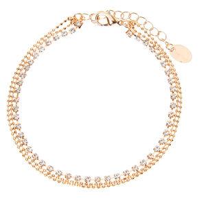 Rose Gold Crystal Ball Multi Strand Anklet,