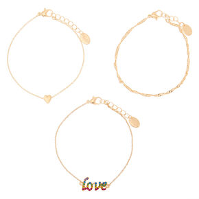 Gold Rainbow Twist & Love Statement Bracelets - 3 Pack,