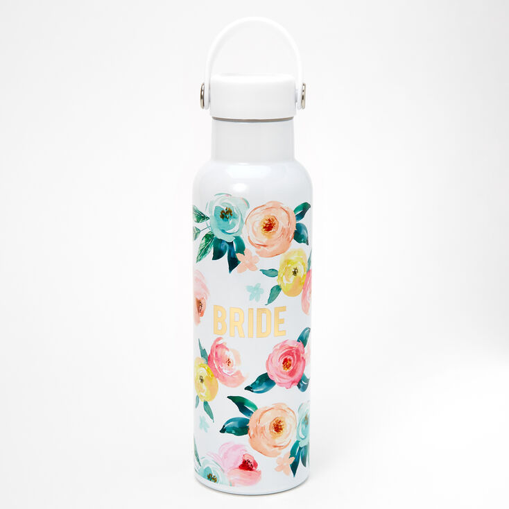 Bride Floral Water Bottle - White,